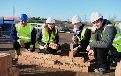 Students from Brockington College getting experience in the construction industry