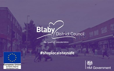 A logo of Blaby District Council's shop local, stay safe campaign