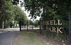 An image of the entrance to Bouskell Park in Blaby